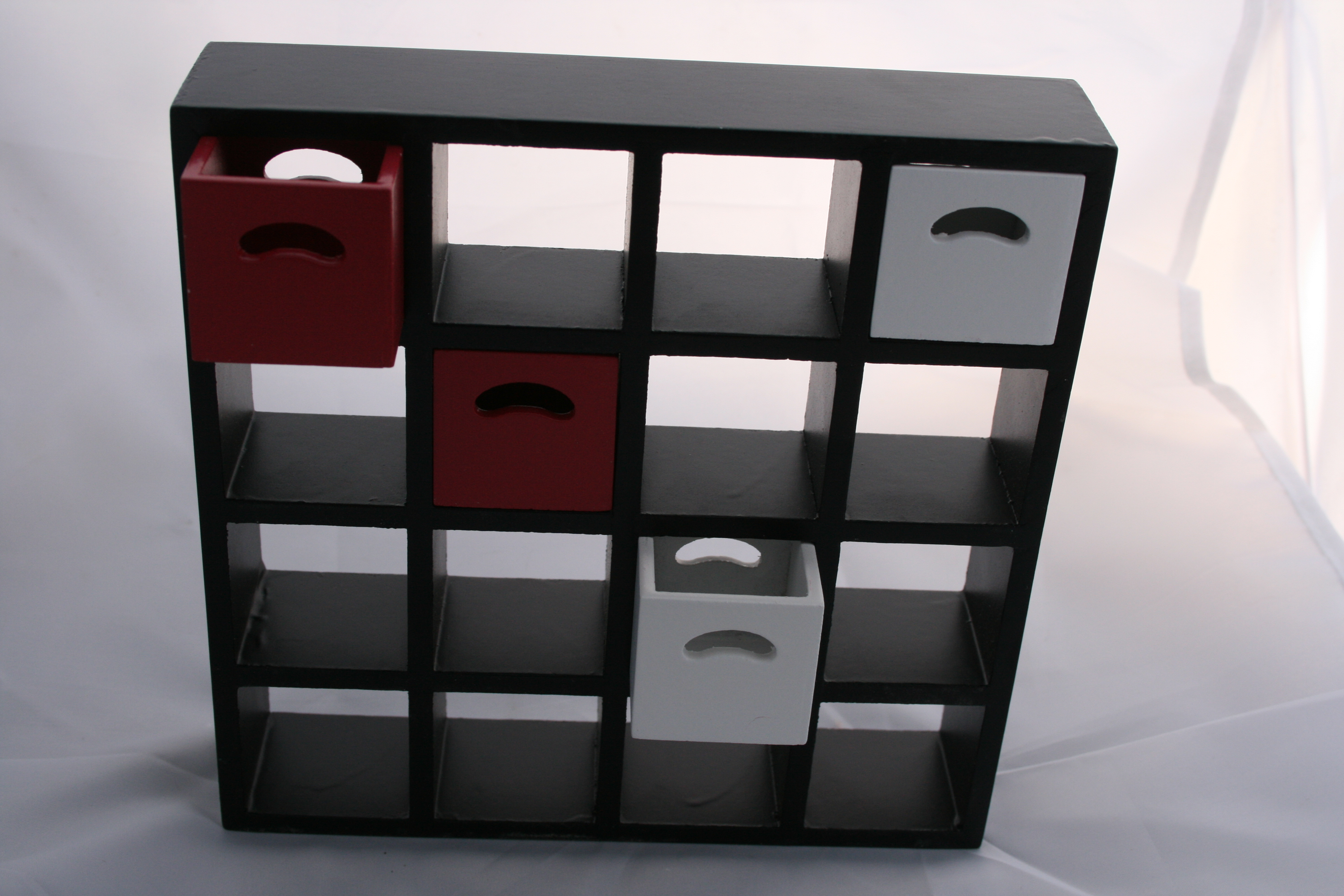 Storage Boxes - 4 Pcs - Cherry and White