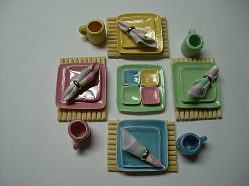 Square Dinner Set & Sectioned Tray - Pastel Mixed